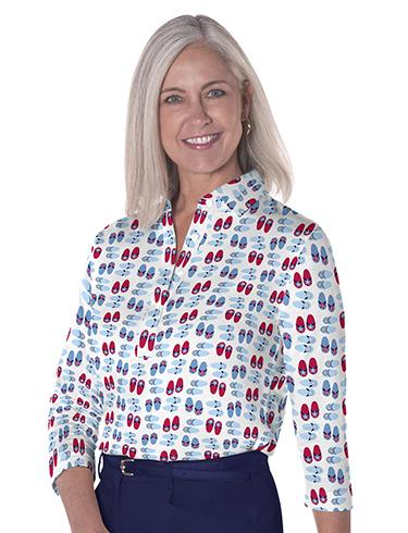 Three Quarter Sleeve Print Polo </br>Flip Out 10K