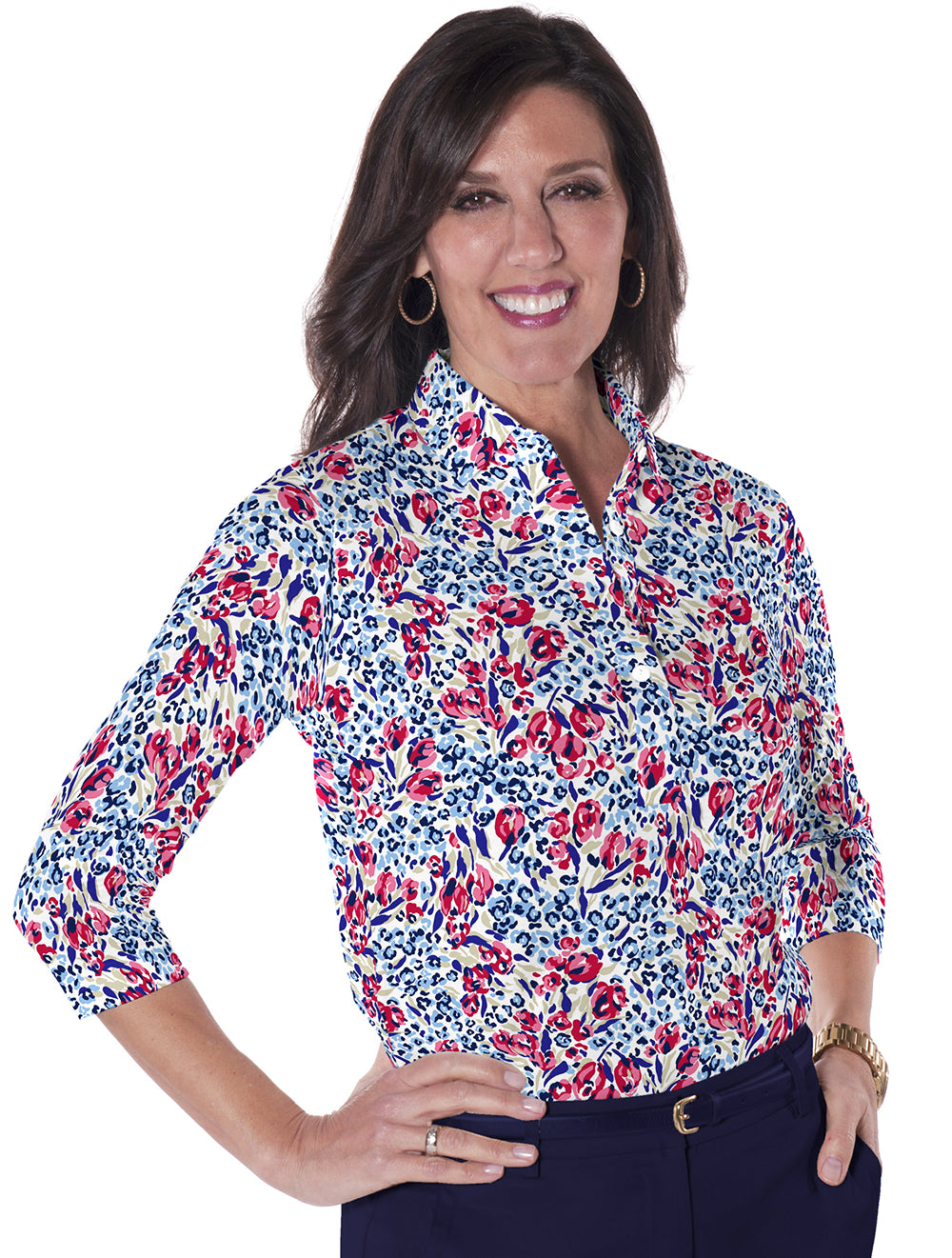 Three Quarter Sleeve Print Polo</br>Jungle Flower 10Q