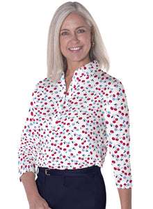 Three Quarter Sleeve Print Polo Cherry Jubilee 10T