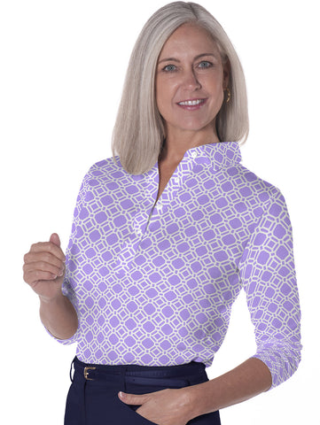 Three Quarter Sleeve Print Polo Tiled and True 14C - Leonlevin