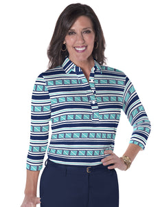 Three Quarter Sleeve Print Polo All Ashore! 15C - Leonlevin