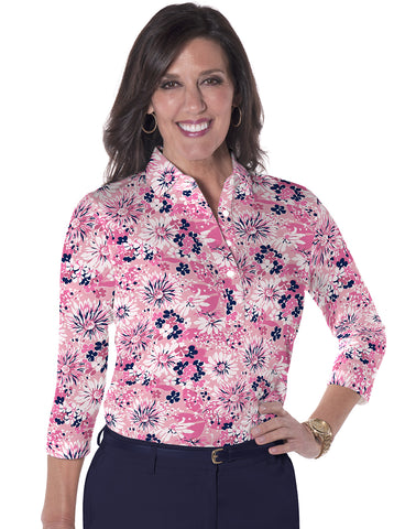 Three Quarter Sleeve Print Polo </br>Always and Forever 16A