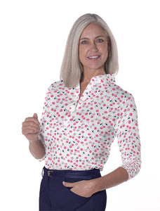 Three Quarter Sleeve Print Polo | Cherry Jubilee 16B - Leonlevin