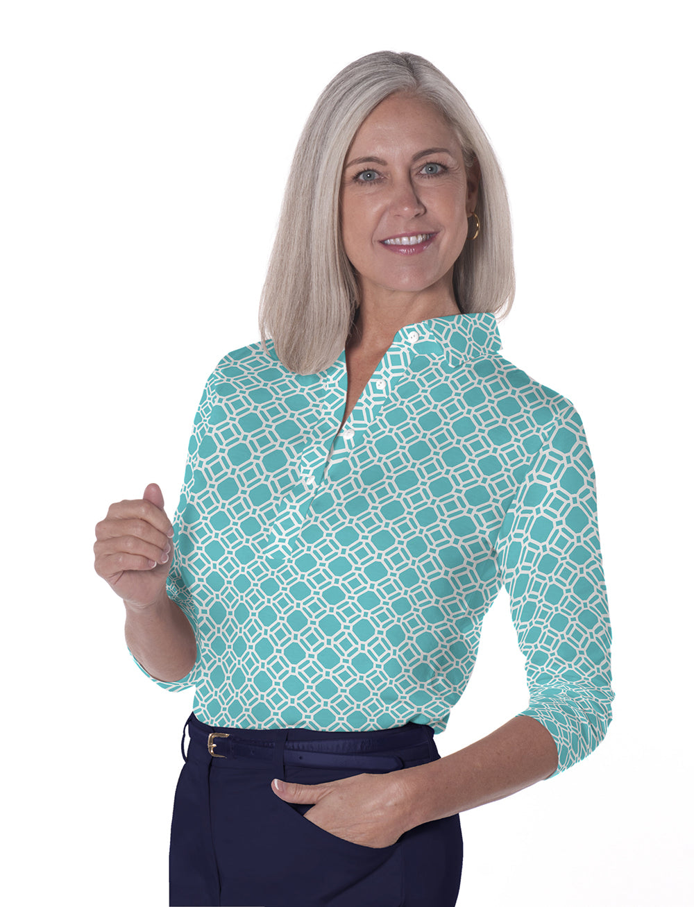 Three Quarter Sleeve Print Polo Tiled & True 19A - Leonlevin