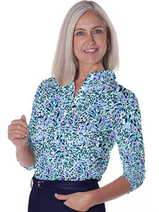 Three Quarter Sleeve Print Polo</br>Jungle Flower 19B