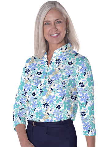 Three Quarter Sleeve Print Polo</br>Magic Garden 19D