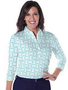 Three Quarter Sleeve Print Polo</br>Hey Sailor! 19F