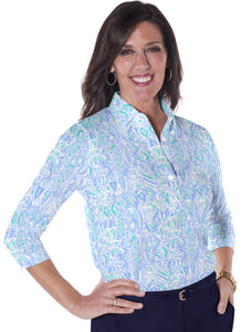 Three Quarter Sleeve Print Polo</br>Subtle Impact 19G