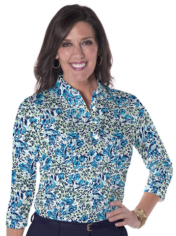 Three Quarter Sleeve Print Polo</br>Jungle Flower 20S