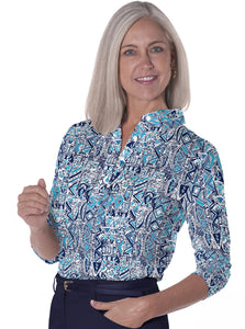 Three Quarter Sleeve Print Polo</br>Subtle Impact 20U