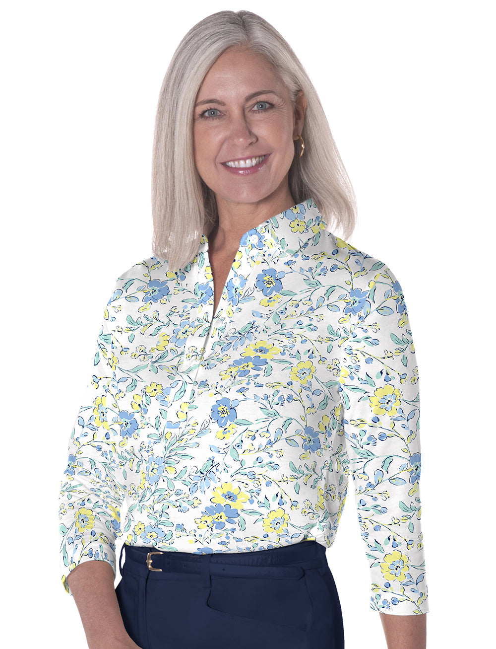 Three Quarter Sleeve Print Polo </br>Eazy Breezy 22A