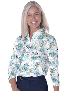 Three Quarter Sleeve Print Polo</br>Force of Nature 22B