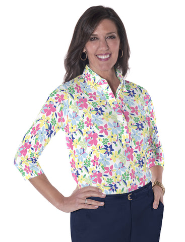 Three Quarter Sleeve Print Polo</br>Magic Garden 22C