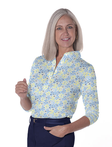 Three Quarter Sleeve Print Polo</br>Sweet Serenade 22D