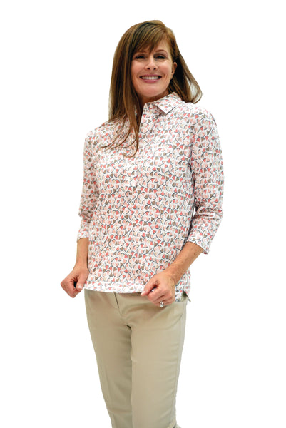 Three Quarter Sleeve Print Polo Shirt | Retro Chic 26D
