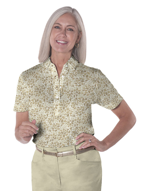 Ladies Short Sleeve Print Polo Shirts <br> Leaf It 01A