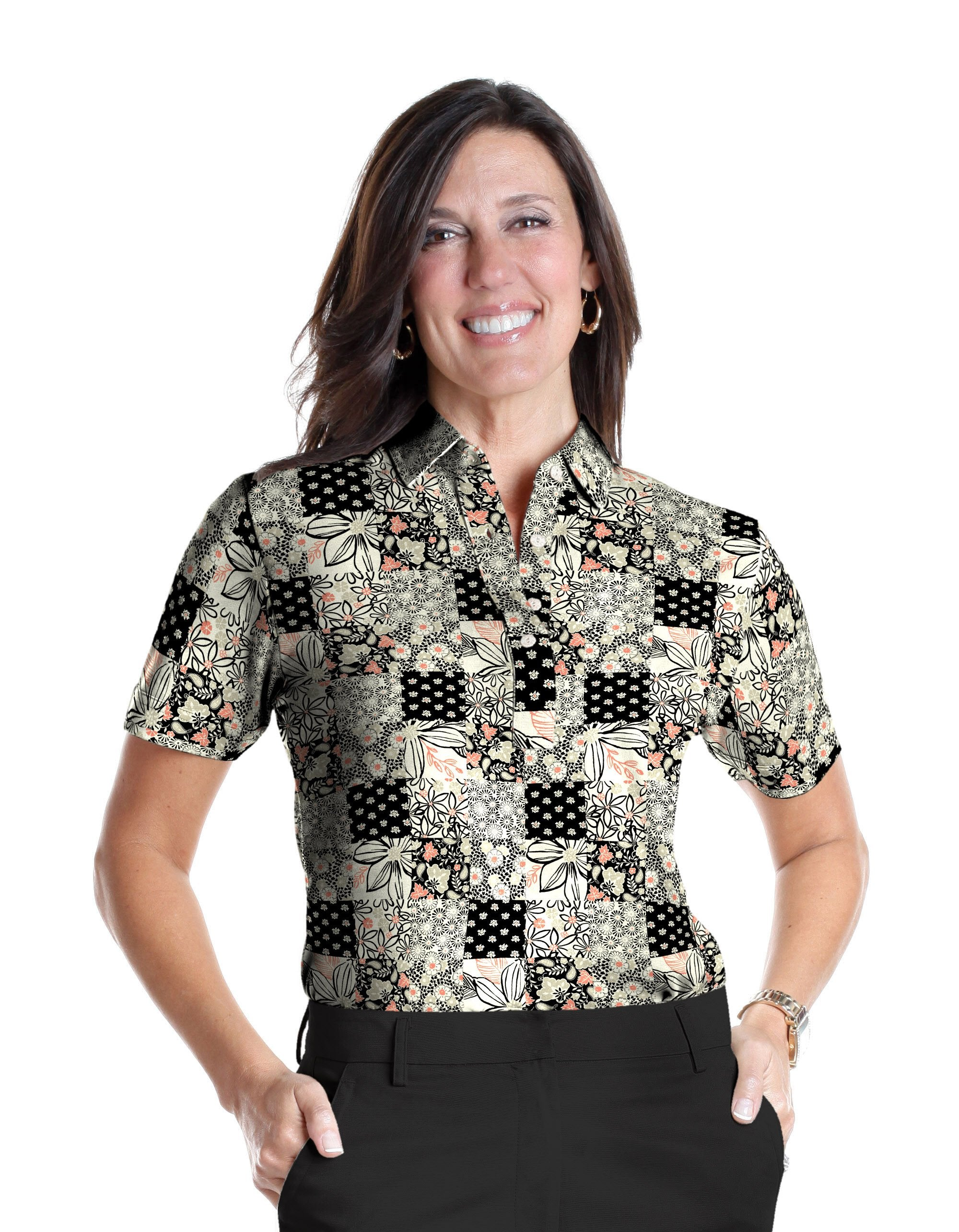 Ladies Short Sleeve Print Polo Shirts <br> Patchmaker 01L