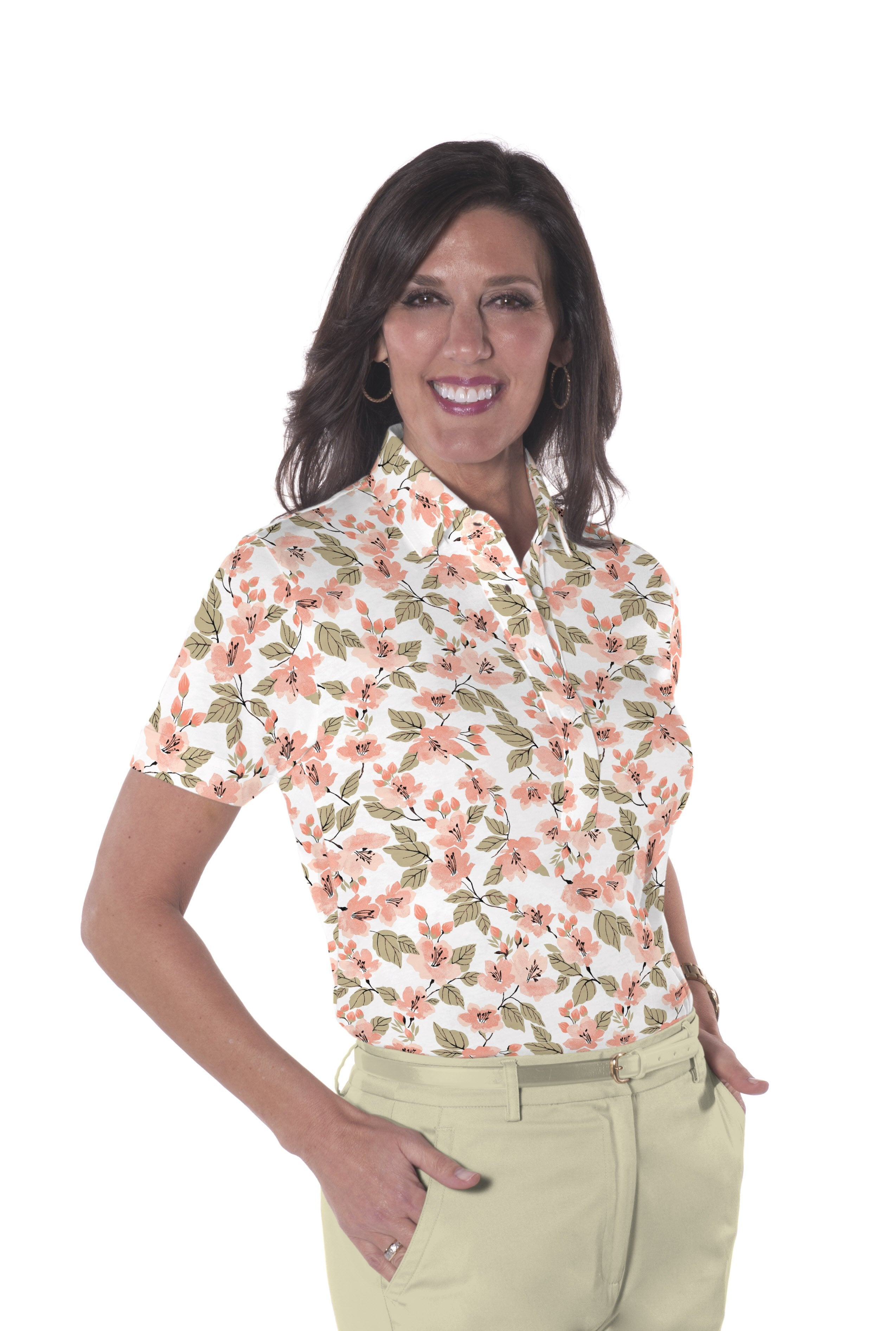 Ladies Short Sleeve Print Polo Shirts One Fine Day 01N