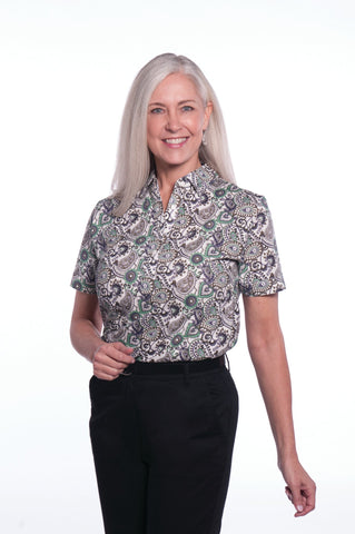 Ladies Short Sleeve Print Polo Shirts</br>Winding Road 02C - Leonlevin