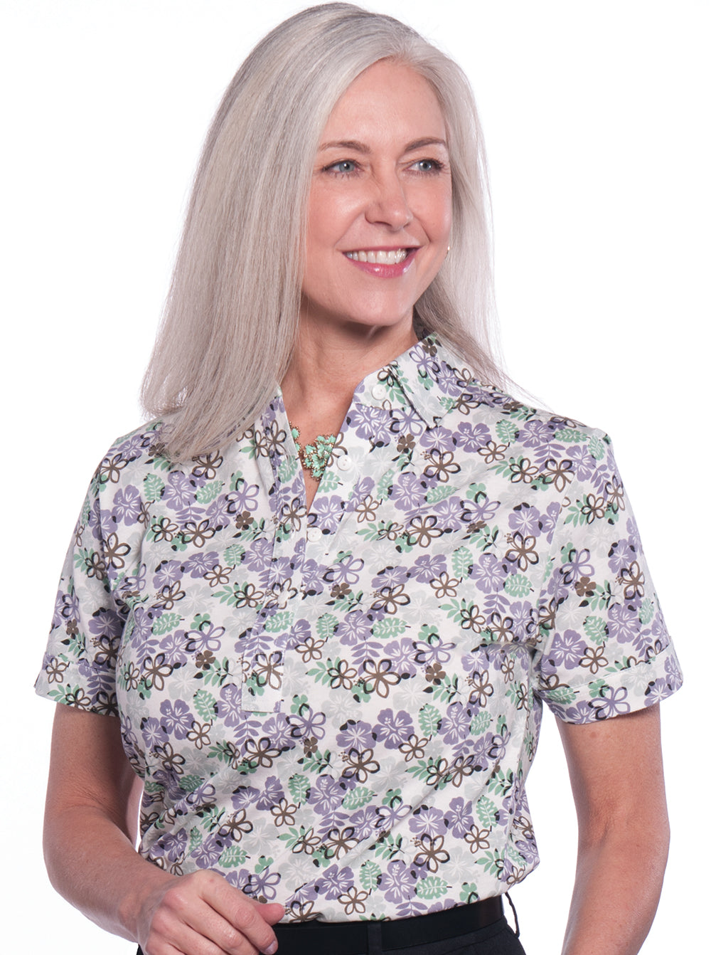 Ladies Short Sleeve Print Polo Shirts</br>A Place in the Sun 02L - Leonlevin
