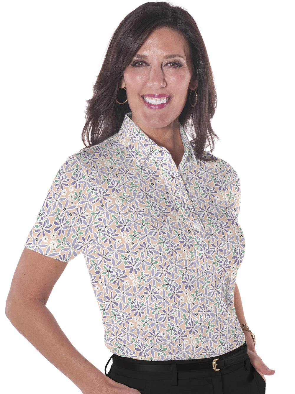 Petite Short Sleeve Print Polo Shirts</br>Sweet Serenade 02M - Leonlevin