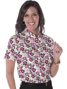 Ladies Short Sleeve Print Polo Shirt A Place in the Sun 03K - Leonlevin