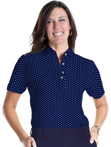 Ladies Short Sleeve Print Polos-br-Dot-to-Dot 04B