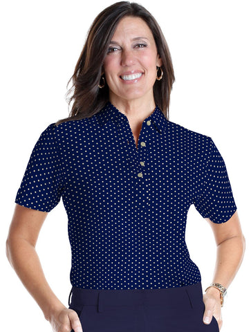 Ladies Short Sleeve Print Polos-br-Dot-to-Dot 04B - Leonlevin