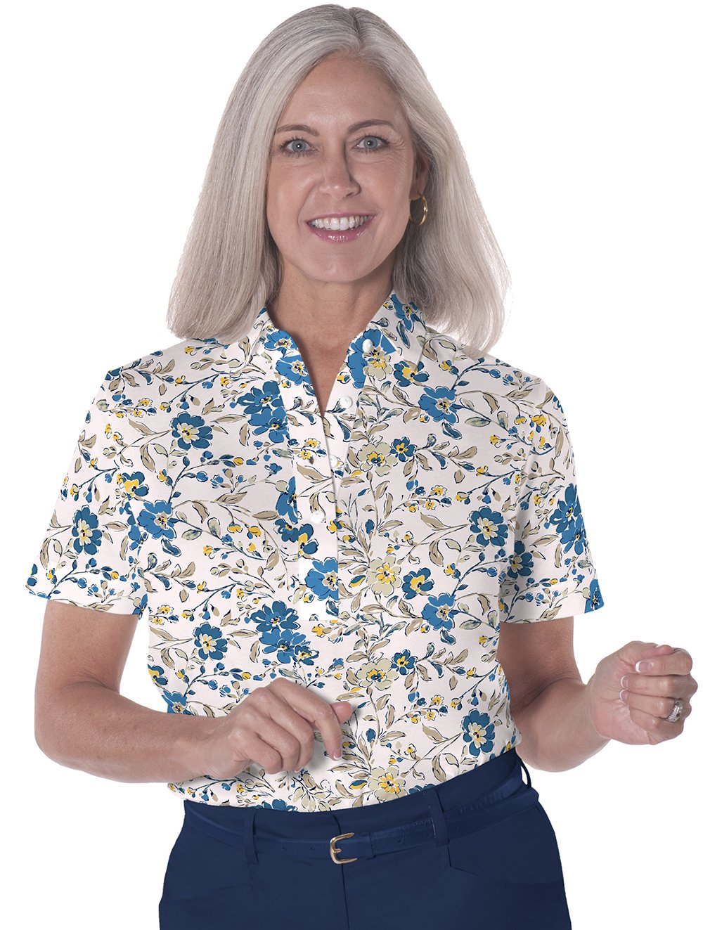 Ladies Short Sleeve Print Polos-br-Easy Breezy 04C
