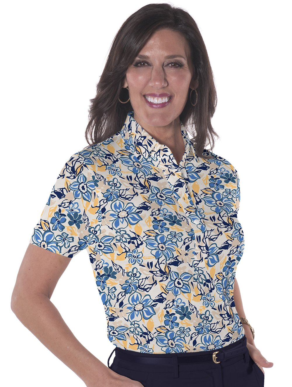 Ladies Short Sleeve Print Polos-br-Floral Float 04G