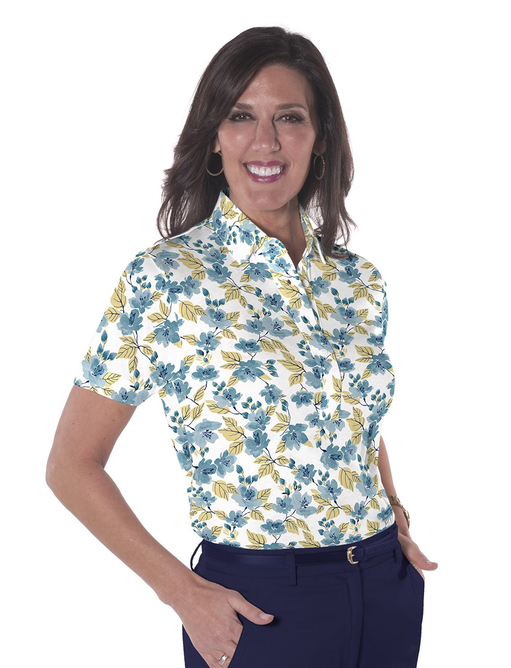 Ladies Short Sleeve Print Polos-br-One Fine Day 04L - Leonlevin