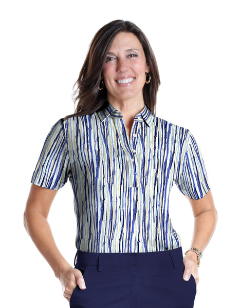 Petite Short Sleeve Print Polo Shirts</br>Bamboo You 05B - Leonlevin