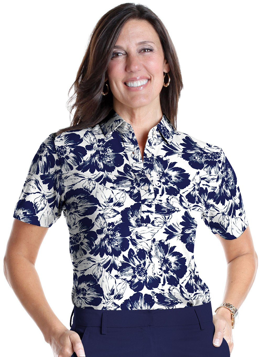 Petite Short Sleeve Print Polo</br>Bold and Beautiful 05F