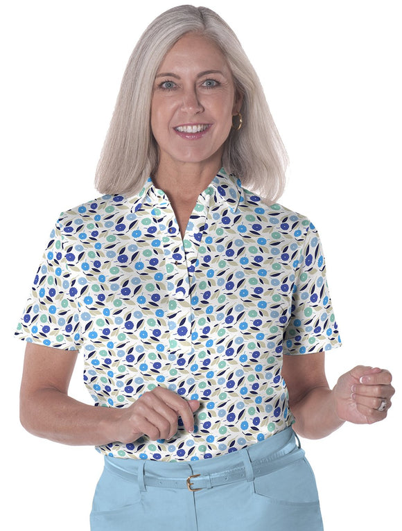 Petite Short Sleeve Print Polo</br>Spring Fever 05H