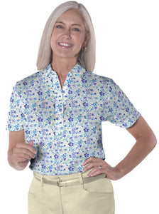 petite Short Sleeve Print Polo ShirtS</br>Under the Sea 05N
