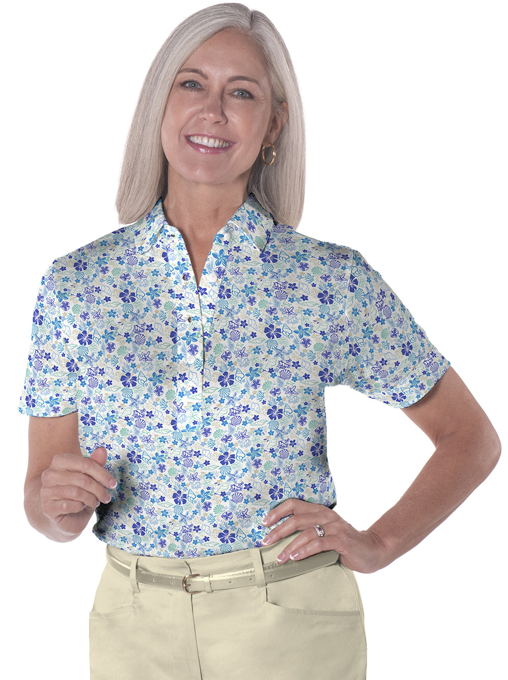 Petite Long Sleeve Print Polo Shirts</br>Under the Sea 05N