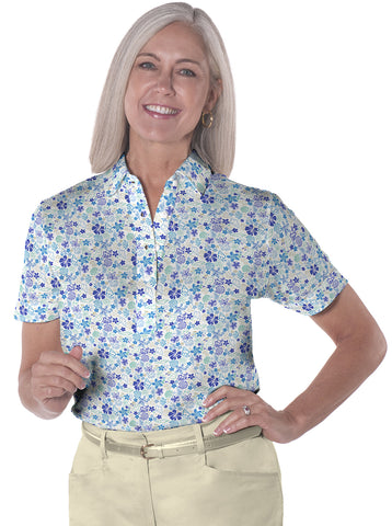 Ladies Short Sleeve Print Polo Shirts</br>Under the Sea 05N - Leonlevin