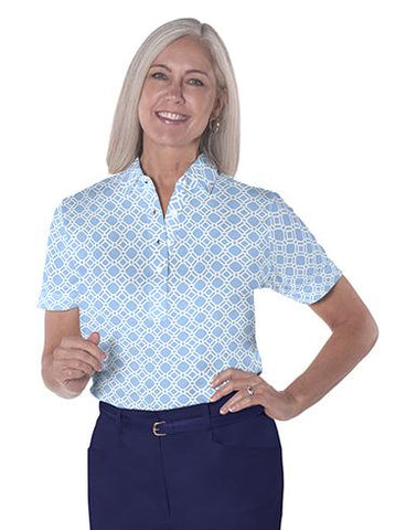 Ladies Short Sleeve Print Polo Shirts Lattice 05P