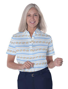 Ladies Short Sleeve Print Polo Shirt All Ashore! 05S - Leonlevin