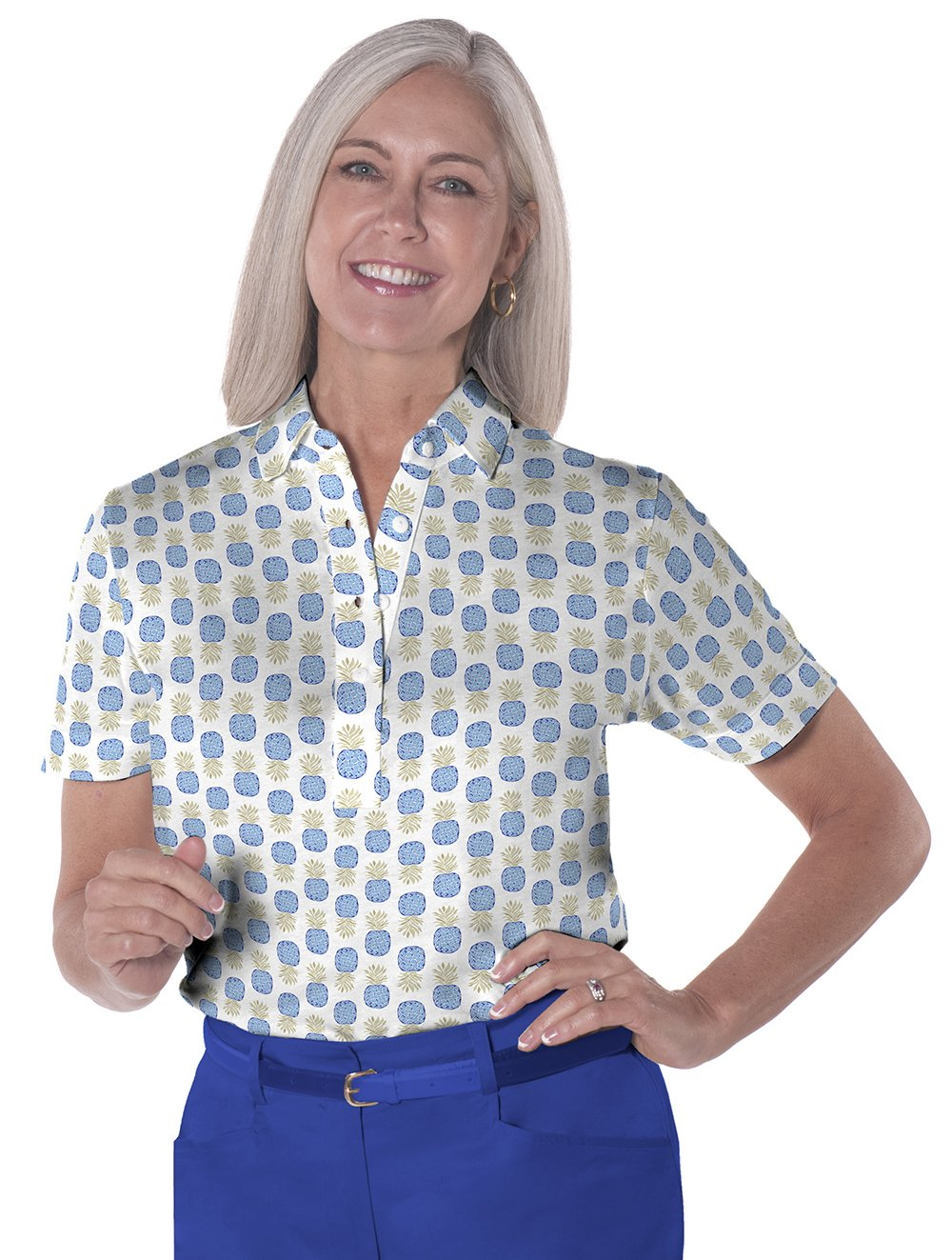 petite Short Sleeve Print Polo ShirtS</br>Pineapple Flip 05A