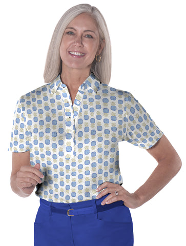 Ladies Short Sleeve Print Polo Tutti Frutti 05A