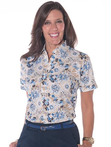 Ladies Short Sleeve Print Polo Shirts Daisy Dash 05C - Leonlevin
