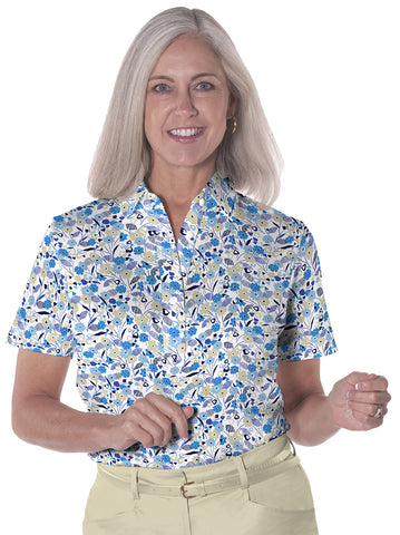 Ladies Short Sleeve Print Polo</br>Here and There 05i - Leonlevin