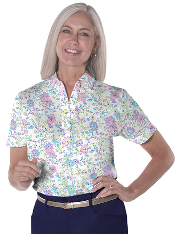 Ladies Short Sleeve Print Polo Shirts</br>Easy Breezy 07B
