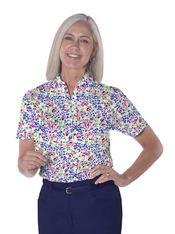 Petite Short Sleeve Print Polo | Jungle Flower 07C