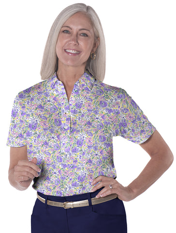 Ladies Short Sleeve Print Polo Shirts Ocean Rose 07D - Leonlevin
