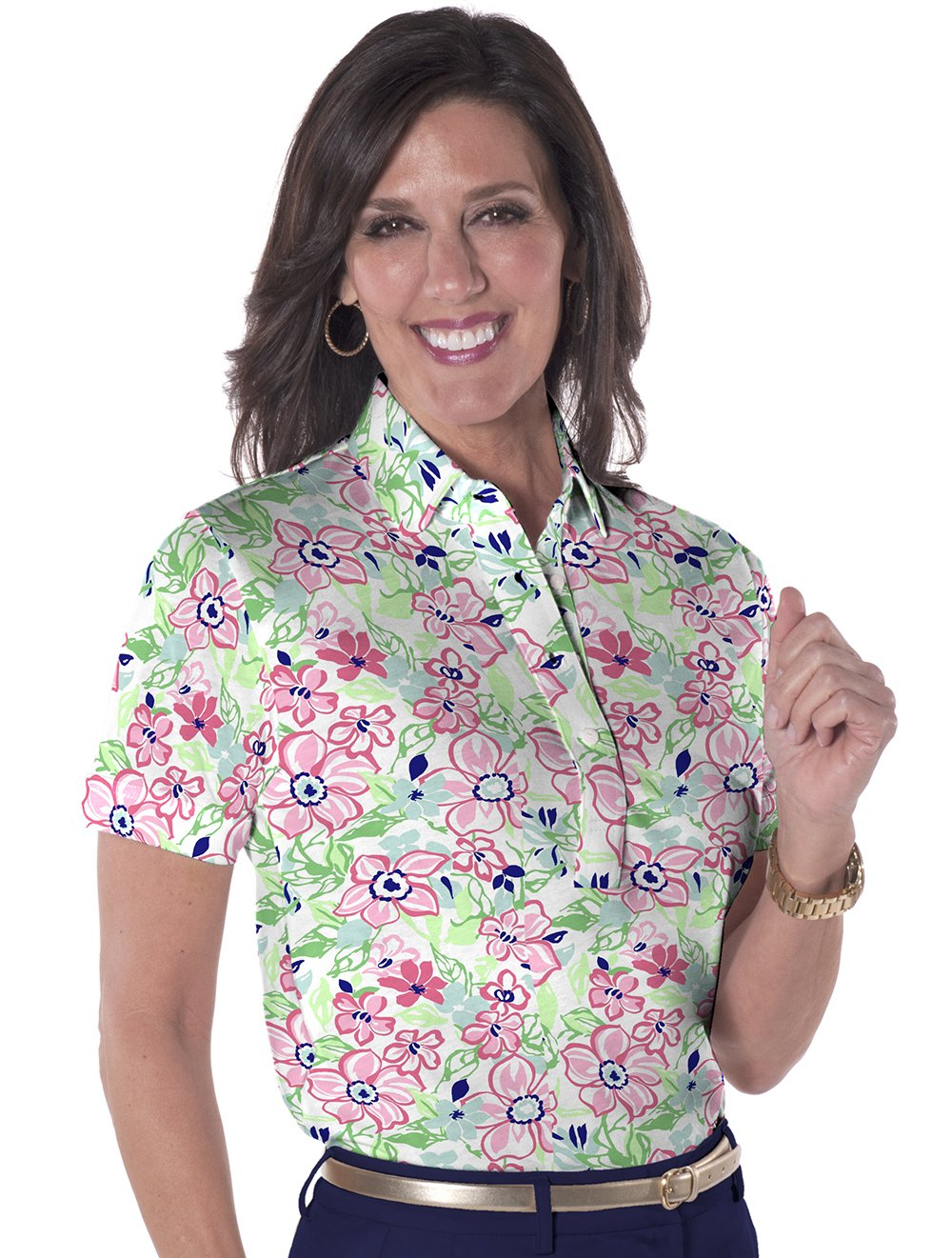 Petite Short Sleeve Print Polo</br>Floral Float 07E