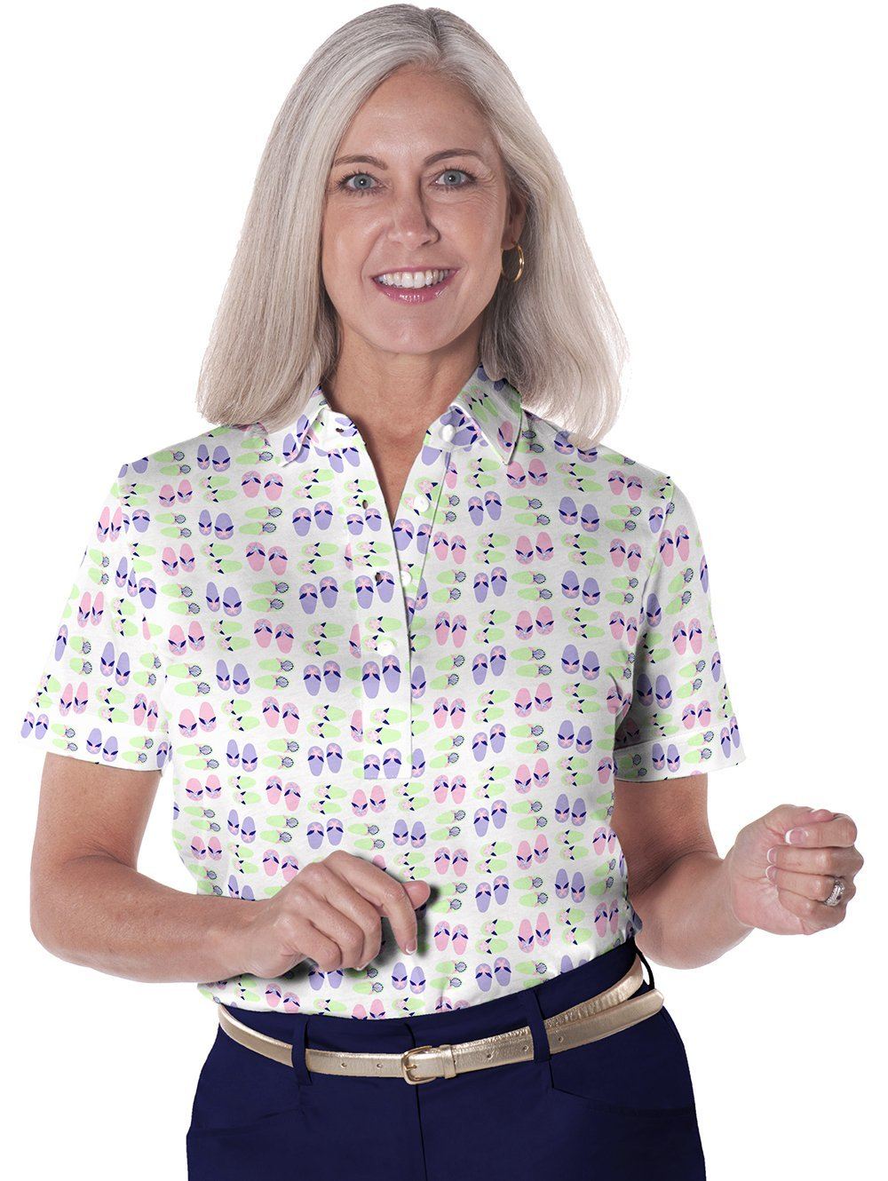 Petite Short Sleeve Print Polo</br>Flip Out 07J
