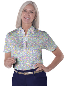Ladies Short Sleeve Print Polo Shirts Sweet Somethings 07i