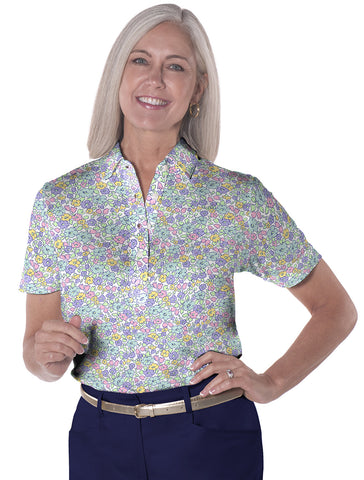 Petite Short Sleeve Print Polo Shirts</br>Budding Beauty 07i